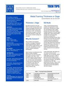 B2010 Metal Framing Thickness